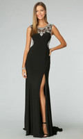Wholesale Sexy Black White Chiffon Prom Dresses Sleeveless Sheer Straps Side Slit Crew Backless Sheer Party Prom Dresses Fashion Style