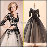 Wholesale 2014 Amazing In Stock Cocktail Dresses A Line Crew Black Appliques Long Sleeve Tea Length Prom Evening Dresses Party Dress