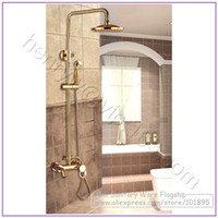 With Slide Bar Yes Single Holder Dual Control Retail- Luxury High Quality Brass Head Rain Shower Set, Gold Color Overhead Shower Set, Wall Mounted, Free Shipping XR12072