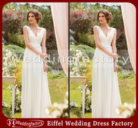 Wholesale Latest Bridal Wedding Gowns Pictures Vintage Ivory A Line V Neck Sleeveless Lace Chiffon Floor Length Prom Gown with Beads