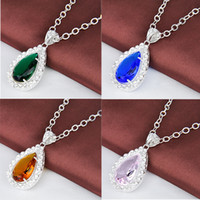 Wholesale FOUR color sterling silver gemstone Sweater chain pendant chain necklace