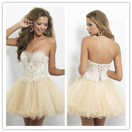Wholesale 2014 Sweetheart Ball Gown Champagne Short Mini Prom Dresses Lace Applique Beaded Homecoming Dress