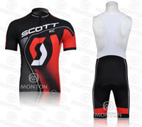 Wholesale Scott RC Cycling Jerseys Tight Suit Bib shorts Bike Wear High elastic spandex Short Sleeves MTB Cycling Shirt Mens Cycling Clothing