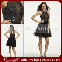 Wholesale Sparkly Short Prom Dresses Cheap Cheap High Neck Diamond Beads Sequins Top Mini A Line Black Mesh Graduaton Dresses