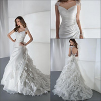 Wholesale 2014 New Elegant Wedding Dresses With Sheer Straps Beads Backless Ruffles A Line Court Train Organza Hot Customed White Church Bridal Gowns