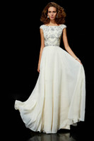 Wholesale Sexy Ivory Chiffon Designer Evening Dresses Beaded Cap Sleeve Short Sleeves Scoop Cover Back Long Formal Prom Gowns Evening Dresses