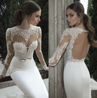 Sheath/Column Reference Images Bateau 2014 New Hot Lace Wedding Dresses With Bateau Long Sleeves Backless Appliques Sheath Court Train Stretch Satin Glamorous Berta Bridal Gowns