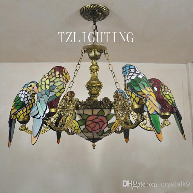 Creative Tiffany Chandelier Six Parrots Metal Pendent Light Hand ...