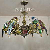 Wholesale Creative Tiffany Chandelier Six Parrots Metal Pendent Light Hand made Welding Glass Lampshade Living Room Dining Room Hotel Lighting Fixtur