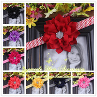 Wholesale Trail Order quot Winter Fabric Flower Headbands With Starburst Button Center Baby Girls Chevron Headband