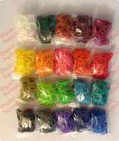 Wholesale 20 colors loom band refill loom kit for kids loom bands colorful Rubber refill bag bands hook quot S quot clip