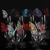 Wholesale Wine Glass Cards Wedding Party Decorations Wine Glass Markers Wedding Cake Toppers name card butterfly laser Cut Card Escort Card K06