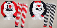Unisex baby girl dad - Spring Autumn long sleeve striped i love mom dad boys girls homewear pajamas Year baby kids pajamas set children home wear suit Melee