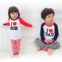 Cheap Fedex DHL Spring Autumn long sleeve striped i love mom & dad boys girls homewear pajamas baby kids pajamas set children home wear suit