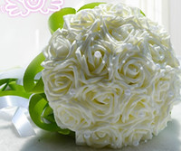 Wholesale Newest Korean Version Wedding Bouquet Bride Holding Flowers with Pearl White Pink Purple Red Four Styles