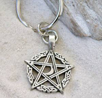 Wholesale Pagan Pentagram Pentacle Wicca Pewter Keychain Key Ring