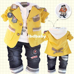 Wholesale spring male child clothing baby casual blazer piece set baby set