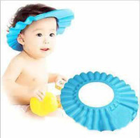 Wholesale Hot sale Fashion Baby Child Kid Shampoo Bath Shower Wash Hair Shield Hat Cap Yellow Pink Blue mixed color