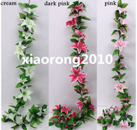 other artificial vines - 220cm quot Length Artificial Silk Flowers Simulation Lily Vine Rattan Garlands Lilies Home Pipeline Decoration Wedding Flower