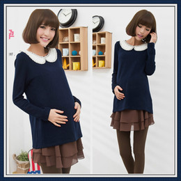 Wholesale Fashion maternity sweater T shirt Tees wear clothes Pregnant women clothing long sleeves dark blue