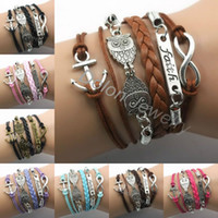 Wholesale 5pcs Fashion Silver Charm Bracelet Combined multilayer leather cord Infinity Owl Anchor Ship Friendship Faith