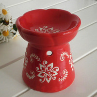 Wholesale Dia cm Flower Painting Red Ceramic Fragrance Oil Burner Aroma Furnace Incense Candle Base DC830