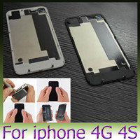 Wholesale 100PCS DHL Back Glass Battery Housing Door Back Cover Replacement Part with Flash Diffuser for iphone S