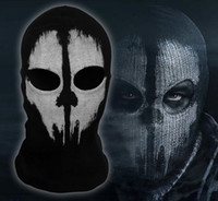 Wholesale Call of Duty COD Cosplay Balaclava Ghost Skull Face Mask Skateboard Bike Hood Caps Hats Masks Sports CS Party performance props black