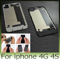 Wholesale 50pcs Glass Back Cover for iphone G S Battery Assembly Housing Door Replacement Part GSM black white FEDEX