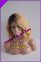 Cheap Stock !!! brazilian virgin human hair two tone glueles front lace wig &glueless full lace wig #1b #27 ombre lace wig