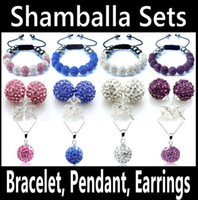 Wholesale Mix Colors Shamballa Bracelet Pendant Necklace Earring Jewelry Set mm Crystal Bead Ball Jewelry Silver O Chain Necklace Factory Price