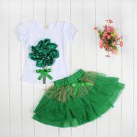 Girl animal pan - Sumer girls dress pc sets girls D big flower KT dress set girl cat tutu skirt pans pc sets tops skirt color choose T Melee