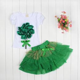 Wholesale Sumer girls dress pc sets girls D big flower KT dress set girl cat tutu skirt pans pc sets tops skirt color choose T Melee