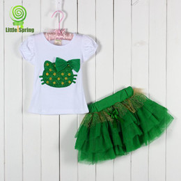 Wholesale girls D flower cartoon KT clothing sets kids tops girl tutu skirts outfits bowknot TUTU skirt colors Choose T set melee