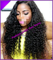 Wholesale Freeshipping Afro Kinky Curly Human Hair Glueless Silk top Full lace wigs Best natural looking hairline amp SKin Color