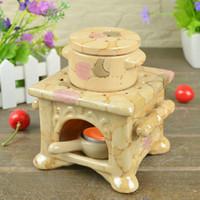 Wholesale 11 cm Color Painting Square Ceramic Oil Burner Home Fragrance Heating Burner Air Freshener Holder DC819