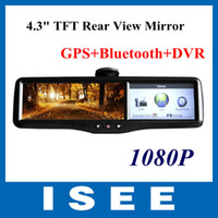 "Best New Design Car 4.3"" TFT Mirror Monitor+rear view+GPS+Bluetooth+DVR(1080P) Video recorder +2 Cameras Free Shipping"