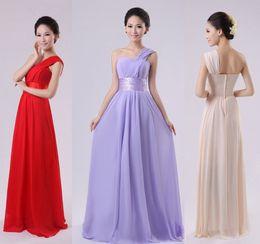 Wholesale 2015 new women Bridesmaid wedding One shoulder Prom long Dress chiffon red purple lilac plus size under