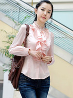 Casual Women Silk Fabulous Pink Stand Collar Ruffles Long Sleeves Imitated Silk Shirt mens dress shirts r42 #u12-bpg