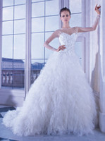 A-Line Reference Images Jewel 2014 Demetrios 2873 Wedding Dresses Transparent Crystal Cascading Ruffles Beaded Long Sleeves Covered Button Bridal Gowns Bridal Dresses
