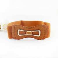 Wholesale New Fashion Design PU Leather Gold Color Bow Alloy Adjustable Christmas Gifts Belts For Women