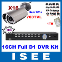 Box/Body S-8616LH-41D HD outdoor security camera system Ultra HD 16CH Full D1 960H DVR 700TVL IR LED Sony CCD Effio Outdoor HDMI CCTV Security Camera System With 1TB HDD Free Shipping
