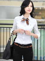 Casual Women Polyester Occupational White Turndown Collar Shirt For Women silk shirts men r96 #u10-boi