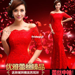 Wholesale Spring bridal wedding dress cheongsam red word shoulder fishtail lace long sleeve new