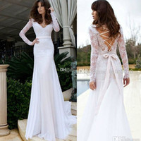 Wholesale 2014 Sexy V Neck Lace Beach Mermaid Backless Bridal Gowns Long Sleeve Galia Lahav Lace Up Back Wedding Dresses Chiffon New Wedding Dress