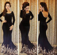 Wholesale 2014 Custom made black velvet mermaid evening prom gowns sweep train backless applique long sleeves formal celebrity dresses BO4699