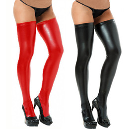 Wholesale Womens Stockings Spandex Thigh High Latex Glam Rock Gothic Wetlook Dropshipping XL188