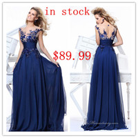 Wholesale 2014 In Stock Royal Blue Beading Chiffon A line Floor Length Prom Formal Evening Dresses Gowns For Womens Wear US Size