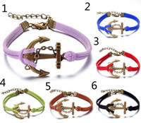 Wholesale Bronze fashion hand woven bracelet jewelry personalized diy pirates anchor chain bracelets Mix Color YH