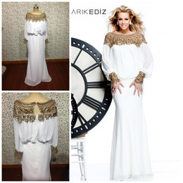 Wholesale 2014 Fashion Designer Tarik Ediz Gorgeous Exquisite Jewel Beaded Bateau Neckline Long Sleeve Chiffon Prom Dress Mother of Bride Dress OO020